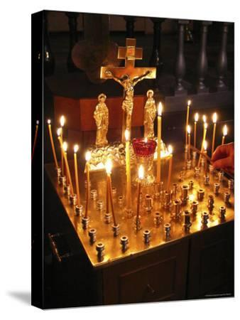 Candles are Lit at the Church of the Resurrection-Richard Nowitz-Stretched Canvas Print