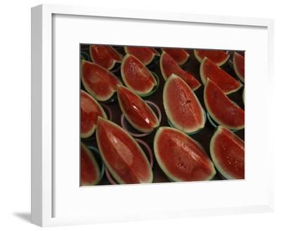 Watermelon Slices Sold at a Market-Todd Gipstein-Framed Photographic Print