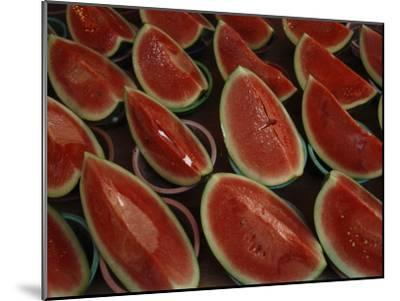 Watermelon Slices Sold at a Market-Todd Gipstein-Mounted Photographic Print
