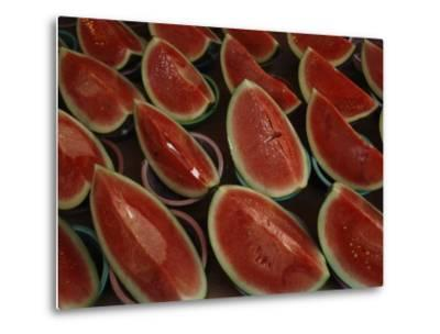 Watermelon Slices Sold at a Market-Todd Gipstein-Metal Print