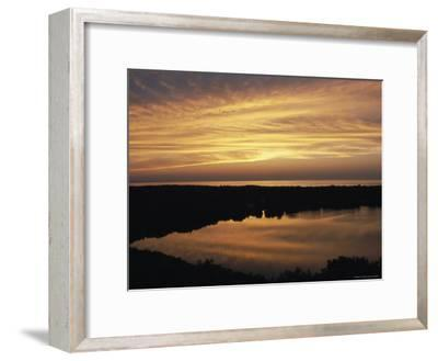 Sunset View of Ocean and Scargo Lake Looking North from Scargo Tower, the Highest Point on Cape Cod-Darlyne A^ Murawski-Framed Photographic Print
