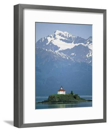 The Chilkat Range Looms Above the Eldred Rock Lighthouse--Framed Photographic Print