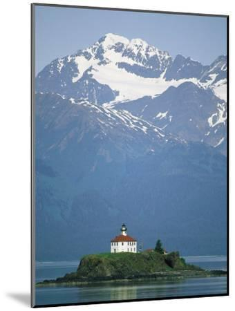 The Chilkat Range Looms Above the Eldred Rock Lighthouse--Mounted Photographic Print