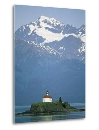 The Chilkat Range Looms Above the Eldred Rock Lighthouse--Metal Print