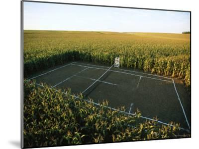 A Tennis Court Carved from a Cornfield-Joel Sartore-Mounted Photographic Print