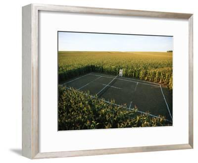 A Tennis Court Carved from a Cornfield-Joel Sartore-Framed Photographic Print