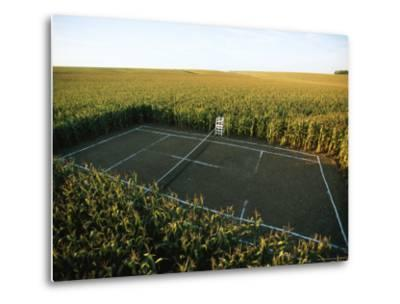 A Tennis Court Carved from a Cornfield-Joel Sartore-Metal Print