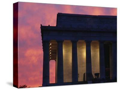 A Pink Sky Above the Lincoln Memorial--Stretched Canvas Print