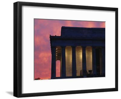 A Pink Sky Above the Lincoln Memorial--Framed Photographic Print