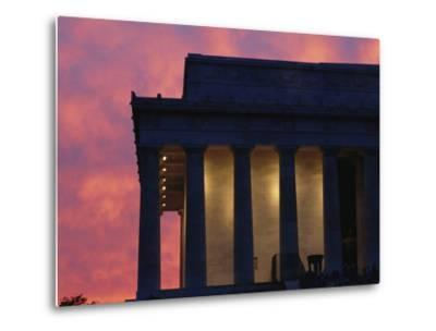 A Pink Sky Above the Lincoln Memorial--Metal Print
