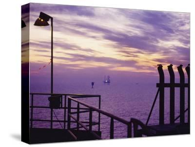 A View Toward Another Platform from an Oil and Gas Drilling Platform--Stretched Canvas Print