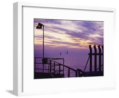 A View Toward Another Platform from an Oil and Gas Drilling Platform--Framed Photographic Print