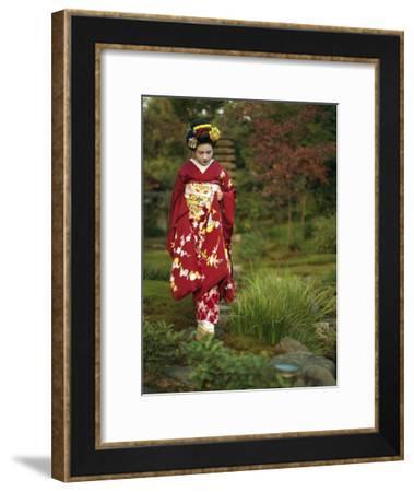 Kimono-Clad Geisha in a Park--Framed Photographic Print