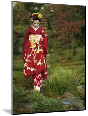 Kimono-Clad Geisha in a Park--Mounted Photographic Print