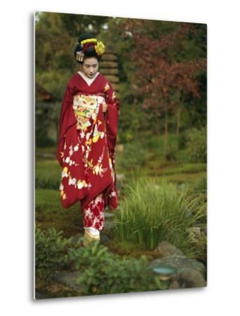 Kimono-Clad Geisha in a Park--Metal Print