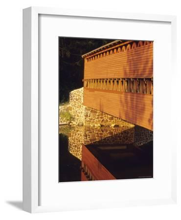 The Sachs Mill Bridge is Reflected in the Marsh River-Raymond Gehman-Framed Photographic Print