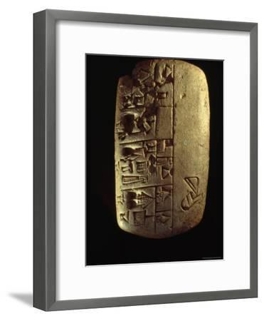 A Description of Commodities Written in Cuneiform on a Mesopotamian Clay Tablet-Lynn Abercrombie-Framed Photographic Print