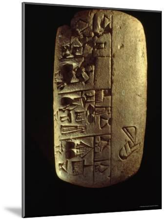 A Description of Commodities Written in Cuneiform on a Mesopotamian Clay Tablet-Lynn Abercrombie-Mounted Photographic Print