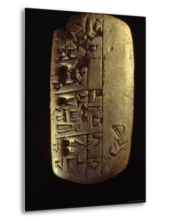 A Description of Commodities Written in Cuneiform on a Mesopotamian Clay Tablet-Lynn Abercrombie-Metal Print
