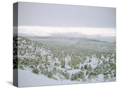 Snow Covers the Desert and Mountains near Pioche, Nevada-Sam Abell-Stretched Canvas Print