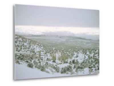 Snow Covers the Desert and Mountains near Pioche, Nevada-Sam Abell-Metal Print