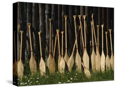 Oars Are Propped Against a Fence, Old Fort William, Thunder Bay, Ontario, Canada-James P^ Blair-Stretched Canvas Print