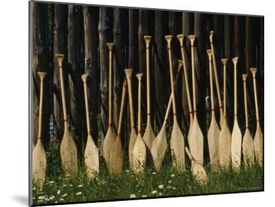 Oars Are Propped Against a Fence, Old Fort William, Thunder Bay, Ontario, Canada-James P^ Blair-Mounted Photographic Print