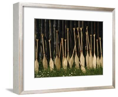 Oars Are Propped Against a Fence, Old Fort William, Thunder Bay, Ontario, Canada-James P^ Blair-Framed Photographic Print