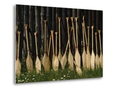 Oars Are Propped Against a Fence, Old Fort William, Thunder Bay, Ontario, Canada-James P^ Blair-Metal Print