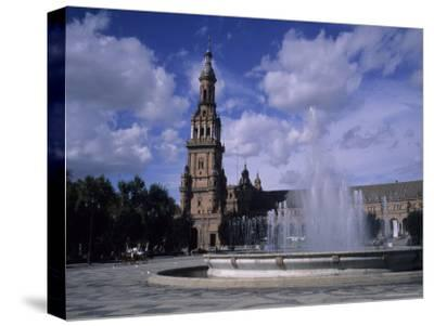 The Fountains of the Plaza De Espana in Seville on a Summer Day, Plaza De Espana, Seville, Spain-Taylor S^ Kennedy-Stretched Canvas Print