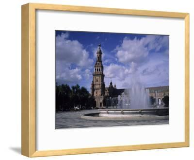 The Fountains of the Plaza De Espana in Seville on a Summer Day, Plaza De Espana, Seville, Spain-Taylor S^ Kennedy-Framed Photographic Print
