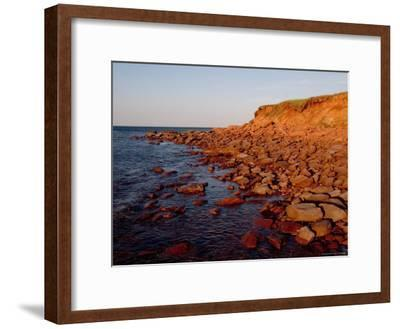 The Almost Unnatural Red of Rocks of Island Light up at Sunset, Prince Edward Island, Canada-Taylor S^ Kennedy-Framed Photographic Print