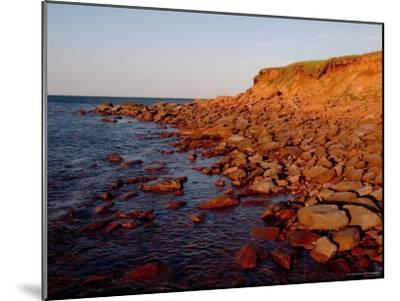 The Almost Unnatural Red of Rocks of Island Light up at Sunset, Prince Edward Island, Canada-Taylor S^ Kennedy-Mounted Photographic Print