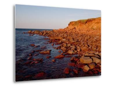 The Almost Unnatural Red of Rocks of Island Light up at Sunset, Prince Edward Island, Canada-Taylor S^ Kennedy-Metal Print