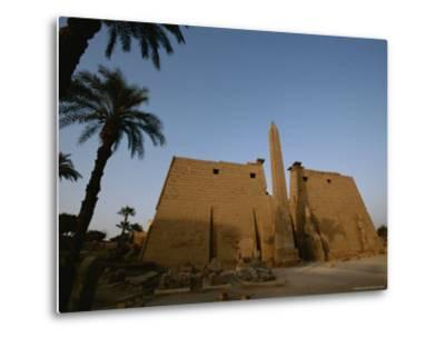 A View of the Exterior of a Temple at Luxor-Kenneth Garrett-Metal Print