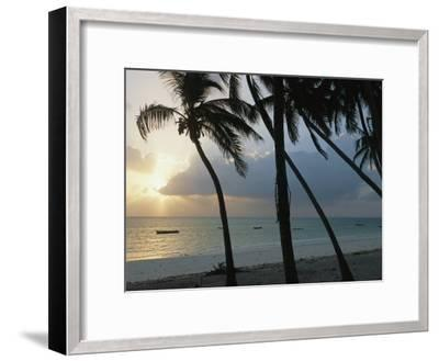 Fishing Boats Anchored off a Beach in the Fishing Village of Bwejuu-Michael S^ Lewis-Framed Photographic Print