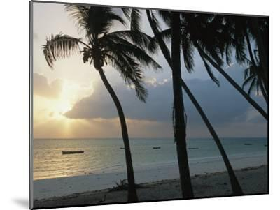 Fishing Boats Anchored off a Beach in the Fishing Village of Bwejuu-Michael S^ Lewis-Mounted Photographic Print