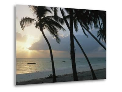 Fishing Boats Anchored off a Beach in the Fishing Village of Bwejuu-Michael S^ Lewis-Metal Print