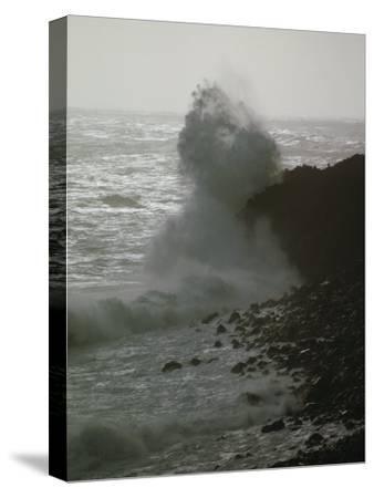 A Wave Splashes on the Shore of Tristan Da Cunha Island-James P^ Blair-Stretched Canvas Print