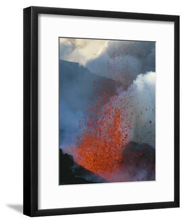 A Violent Eruption of Lava Spews High into the Air on Mount Etna-Peter Carsten-Framed Photographic Print