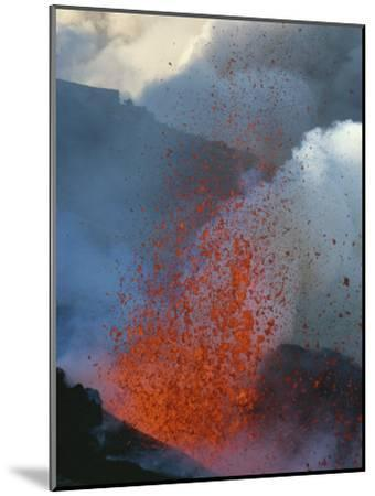 A Violent Eruption of Lava Spews High into the Air on Mount Etna-Peter Carsten-Mounted Photographic Print