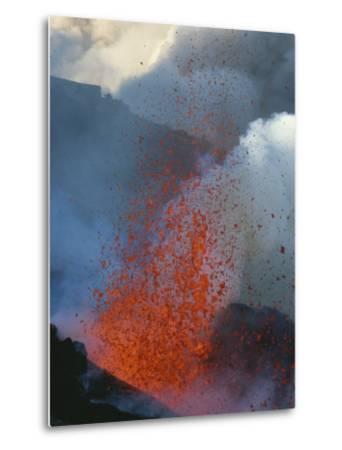 A Violent Eruption of Lava Spews High into the Air on Mount Etna-Peter Carsten-Metal Print
