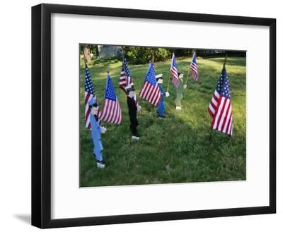 Patriotic Lawn Ornaments Represent the Varied Armed Forces of the U.S.-Stephen St^ John-Framed Photographic Print