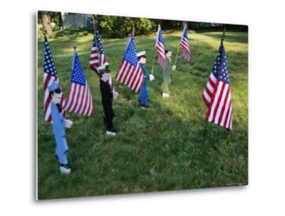 Patriotic Lawn Ornaments Represent the Varied Armed Forces of the U.S.-Stephen St^ John-Metal Print
