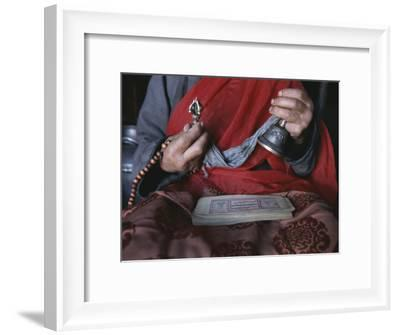 Buddhist Lama with Prayer Book, Prayer Beads and Dorge-Gordon Wiltsie-Framed Photographic Print