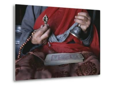 Buddhist Lama with Prayer Book, Prayer Beads and Dorge-Gordon Wiltsie-Metal Print