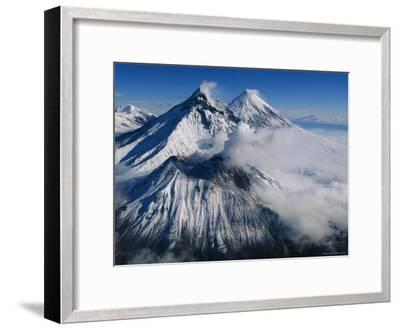 View of Kamen, Bezymianny, and Klyuchevskoy, Asias Tallest Volcano-Peter Carsten-Framed Photographic Print