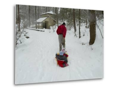 Man Pulling Two Children on a Sled Through the Snow-Todd Gipstein-Metal Print