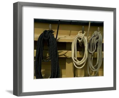 Ropes Hanging on Hooks on an Old Wooden Tall Ship-Todd Gipstein-Framed Photographic Print