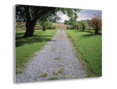 A Gravel Road Marks the Entrance/Exit to Waveland Farm in Nebraska-Joel Sartore-Metal Print